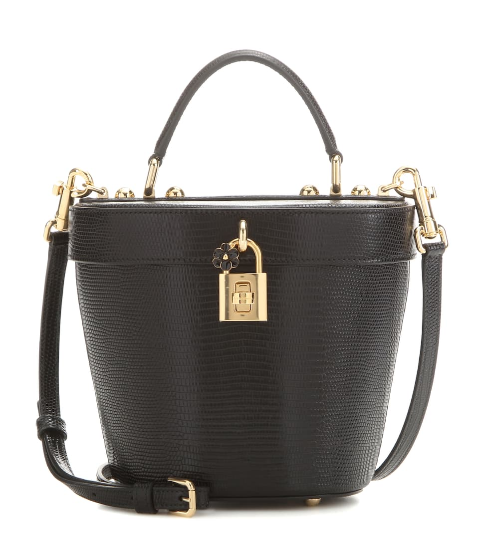 Dolce & Gabbana Embossed leather bucket bag