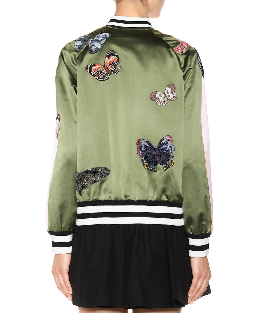 Valentino Silk bomber jacket with appliqués