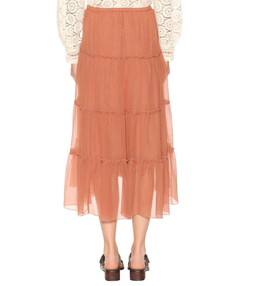 See By Chloé Midi Skirt Made Of Cotton And Silk