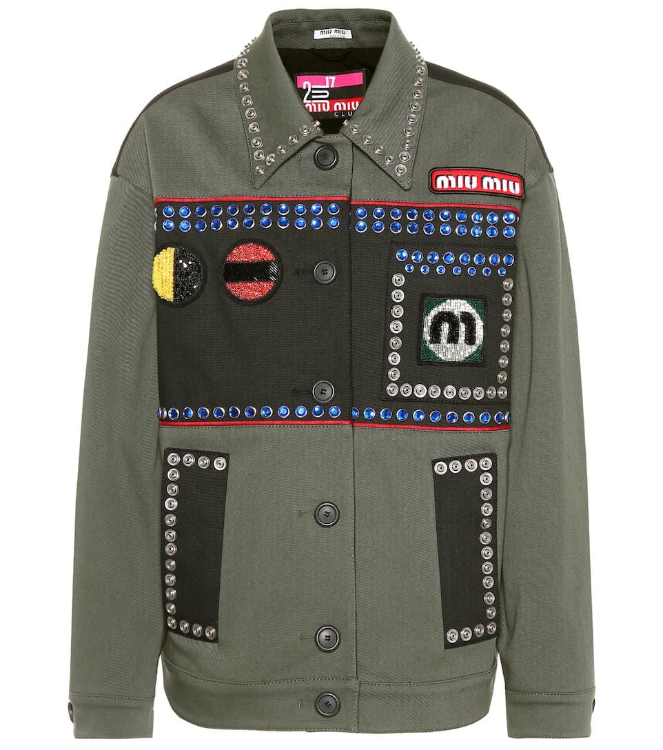 Miu Miu Verzierte Jacke aus Twill