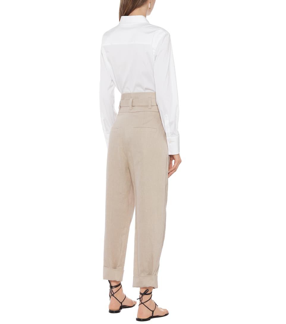Brunello Cucinelli - High-rise cotton and linen pants