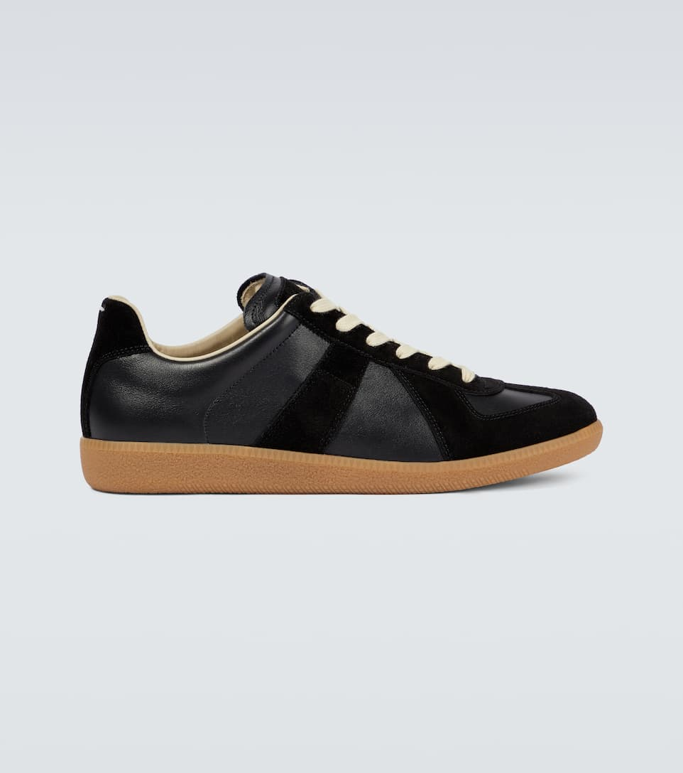 Maison Margiela Replica Sneakers In Smooth Leather And Suede In Black