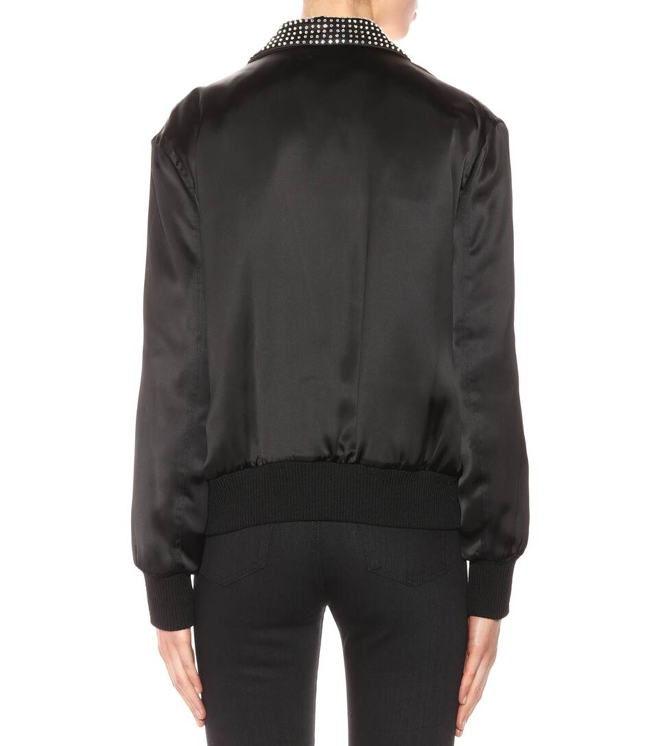 """SAINT LAURENT """"Je T'Aime"""" Teddy Jacket In Black Satin And Clear Crystal"""