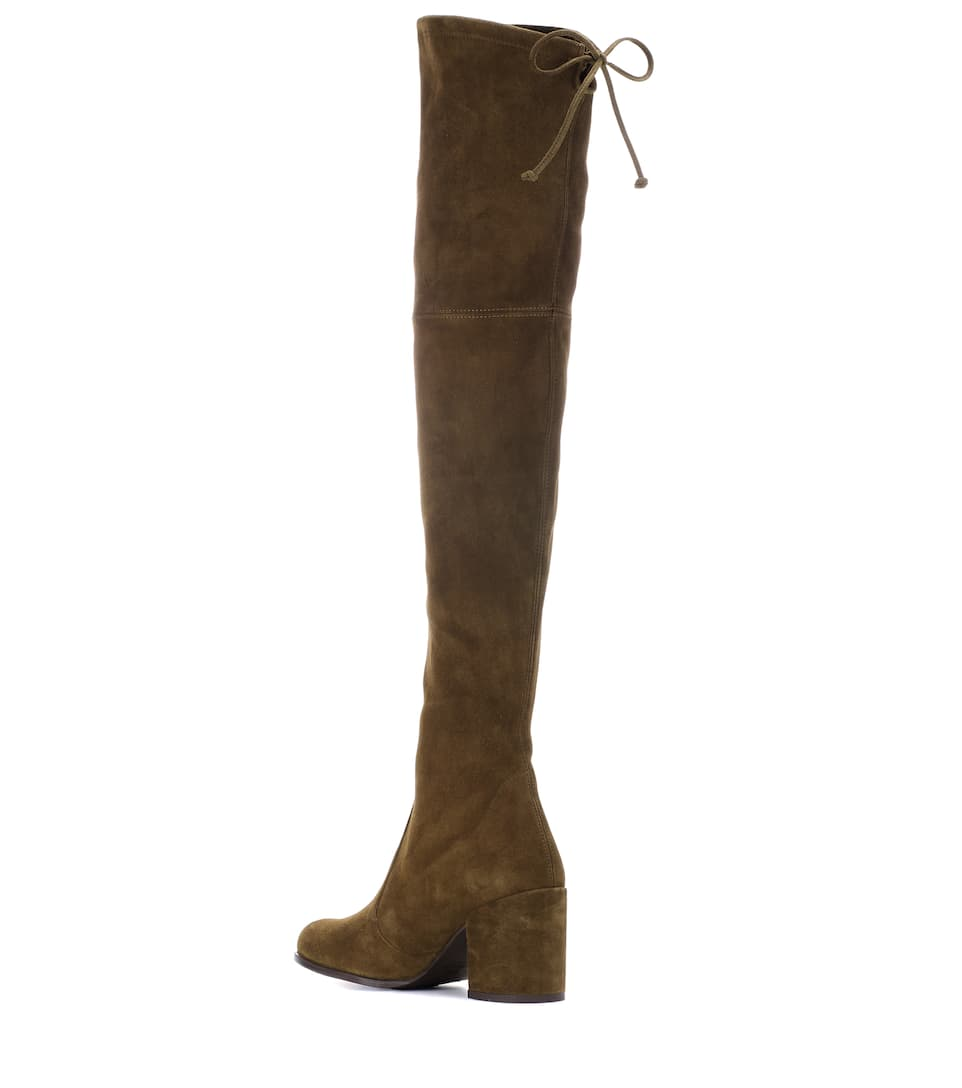Outlet Lowest Price Outlet Fast Delivery Stuart Weitzman Tieland suede over-the-knee boots Olive Suede Footlocker Cheap Online Very Cheap Price laSl3vDts