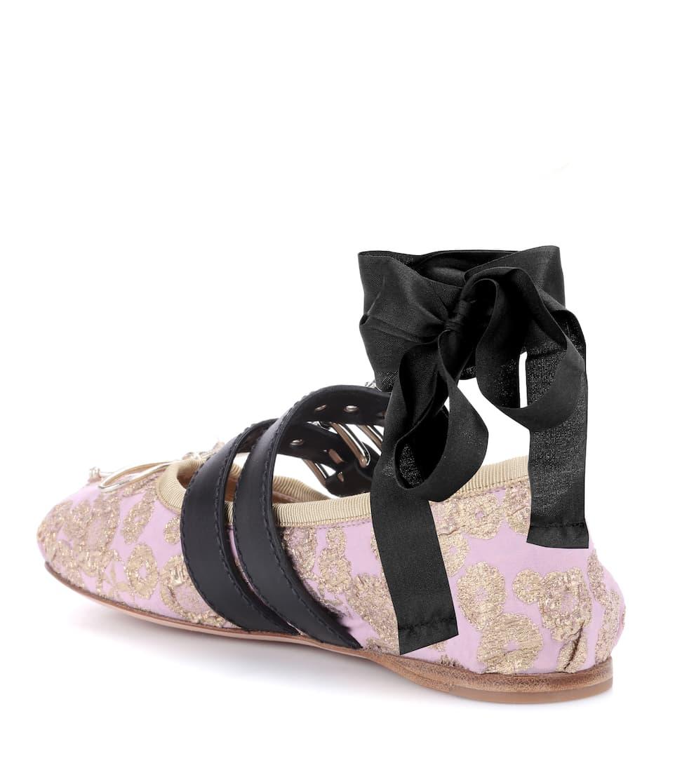 Auslass Günstiger Preis Miu Miu Ballerinas aus Brokat Fabrikverkauf 2018 Neueste Online-Verkauf Rabatt Top-Qualität qSi6H