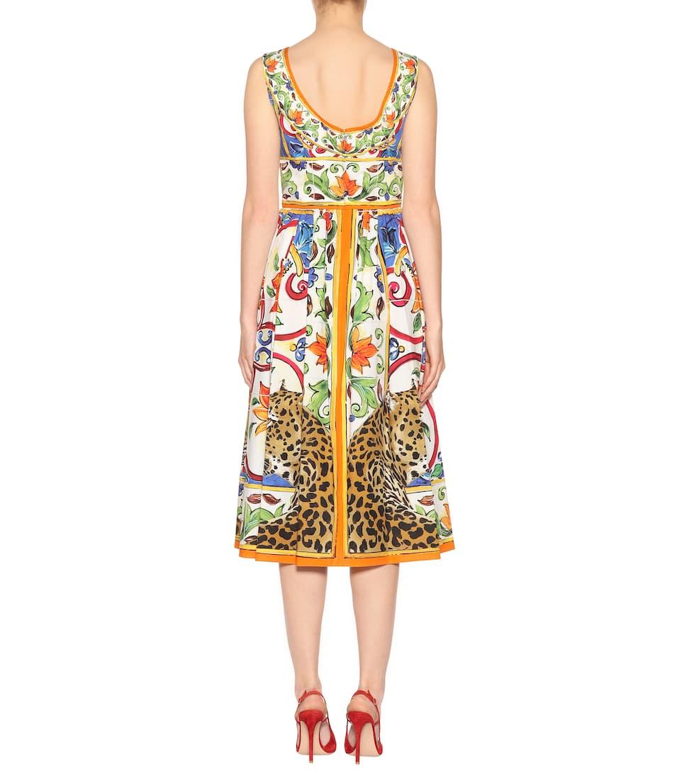 Acheter Pas Cher Robe En Coton Imprimé - Dolce & Gabbana Meilleure Vente De Sortie Sortie Rabais MUOAwuTd