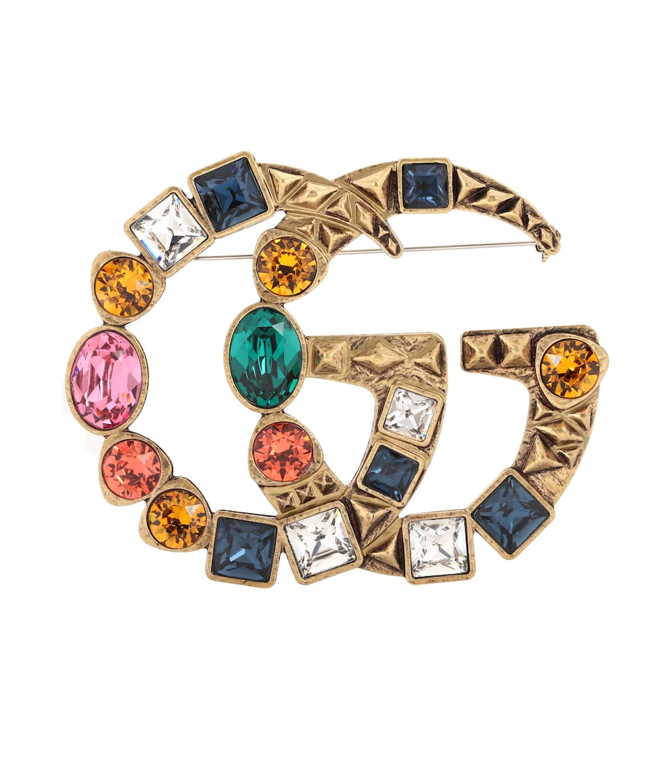 Multicoloured Double Gg Crystal Brooch, Gold