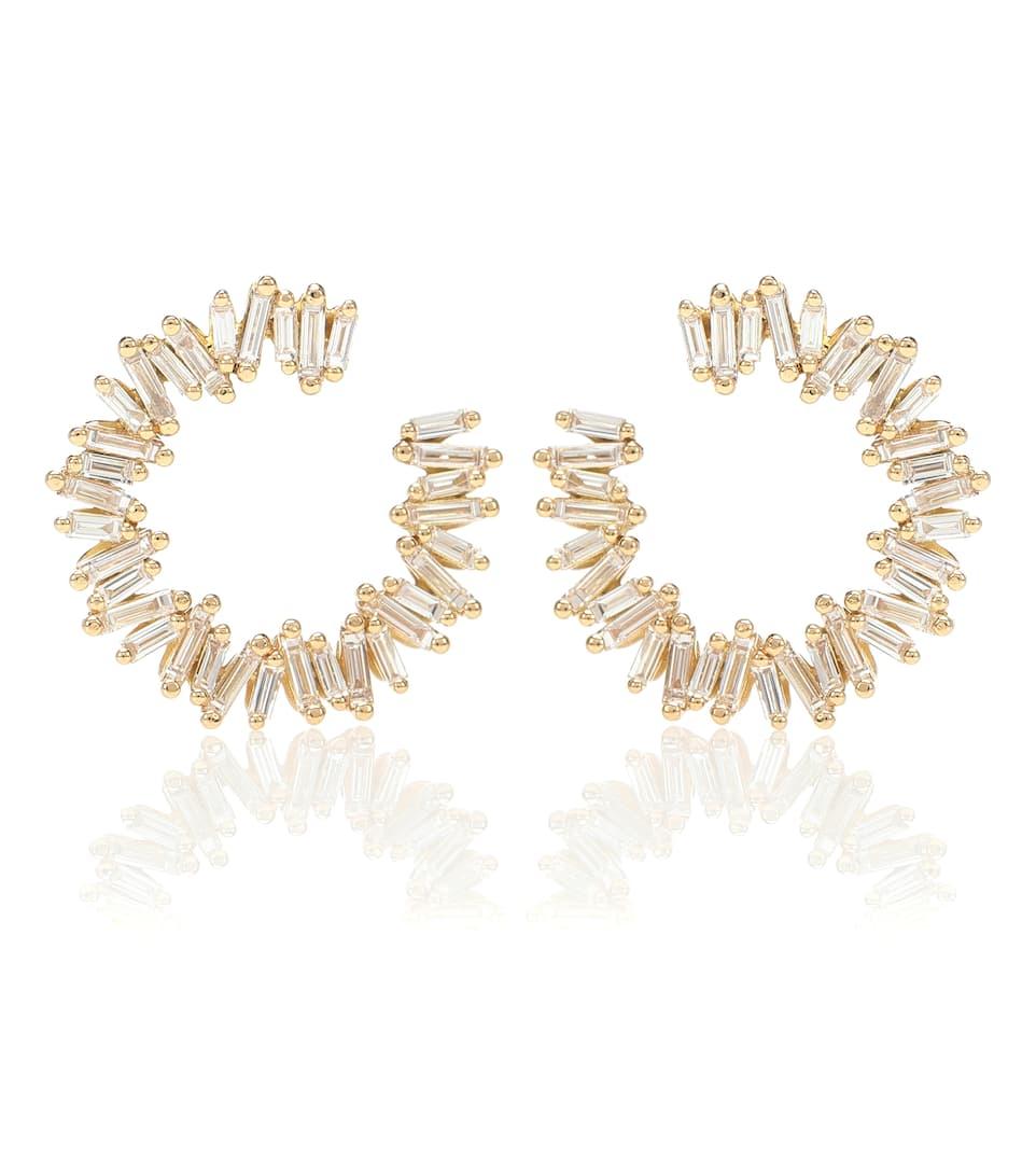 En Suzanne D'oreilles 18 Ct Et Spiral Kalan Diamants Boucles Or rhQCtsd
