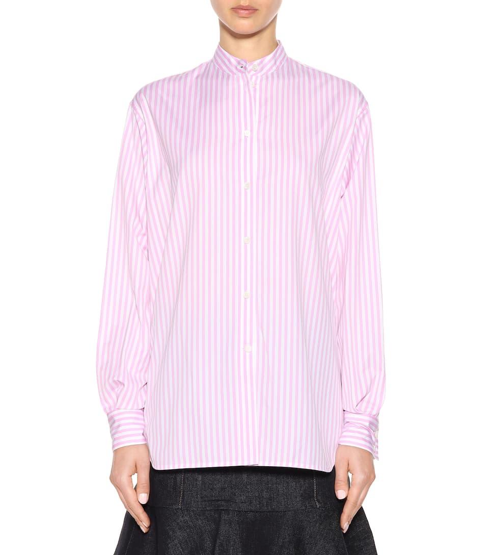 Victoria Beckham Striped Band Collar Shirt White Rose