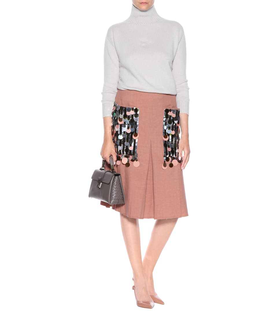 Sale Amazon Bottega Veneta Embellished silk and cotton skirt Dahlia Collections Cheap Price Where To Buy qSX72vTcX3