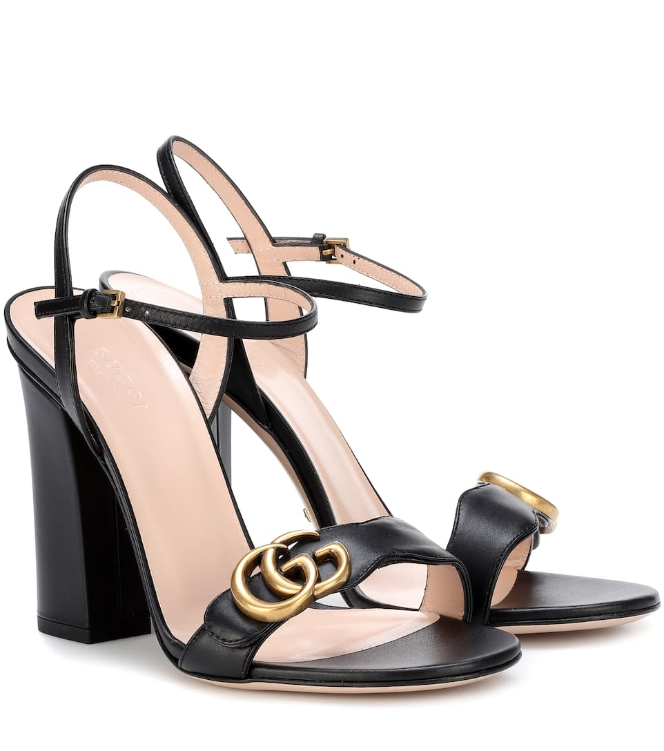 d8c187ae5056 Gucci Embellished Leather Sandals In Black