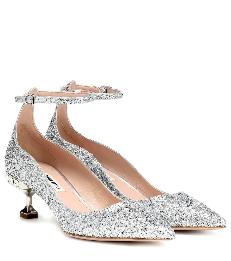Glitter kitten heel pumps