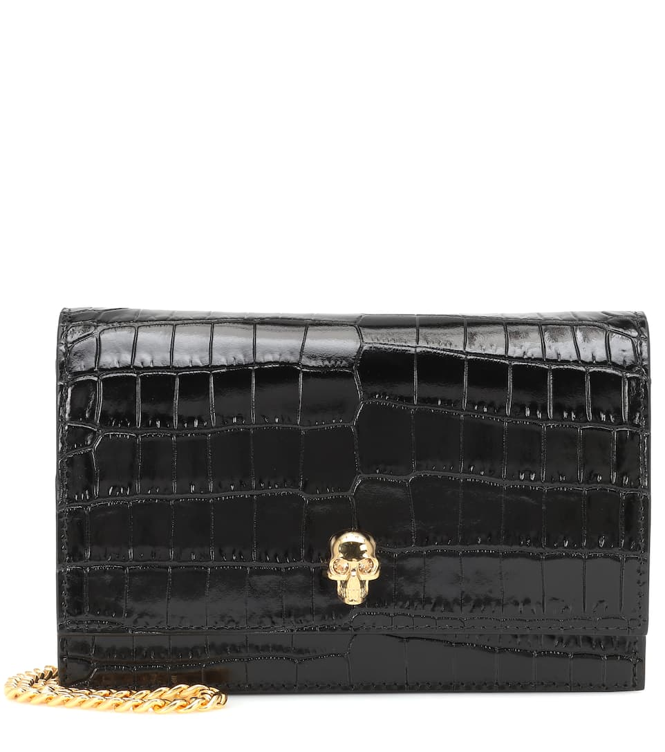 Skull Mini Croc Effect Shoulder Bag