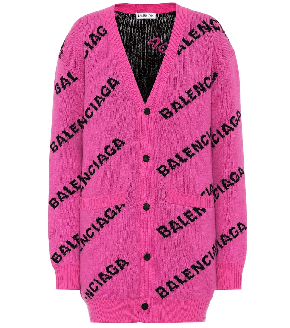 Intarsia Stretch Wool Cardigan by Balenciaga