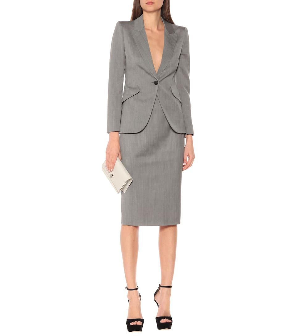 Alexander McQueen - High-rise pencil wool midi skirt