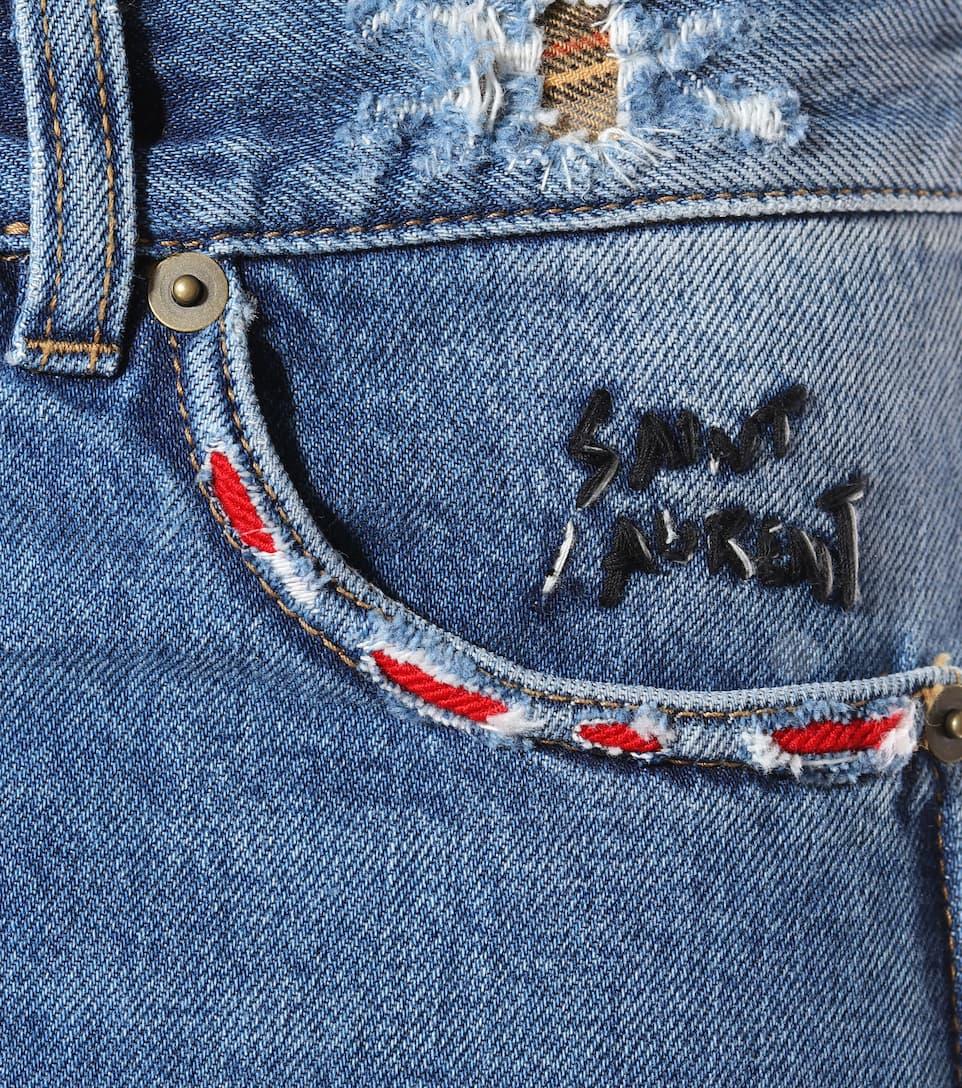 Shorts De Jeans Ajustés Saint Laurent