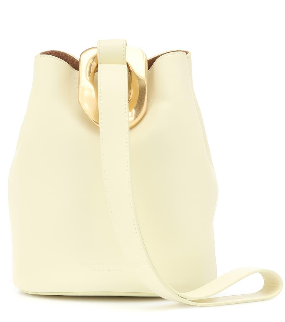 Drop leather bucket bag