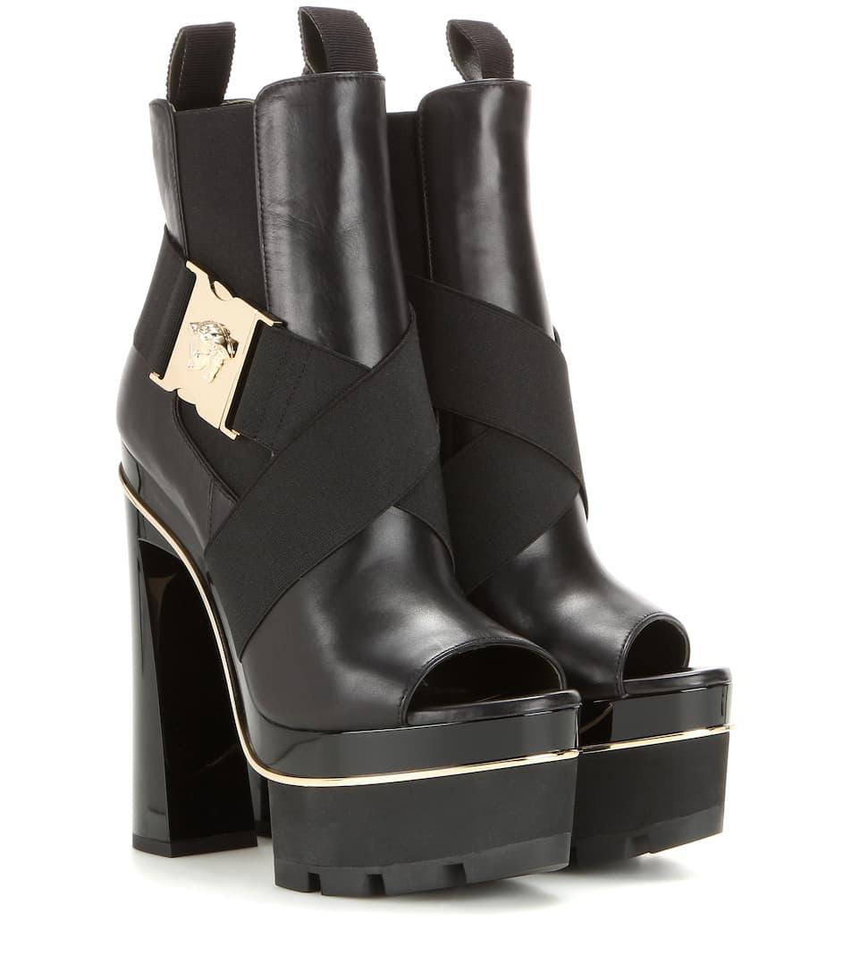 Versace Open-Toe-Booties aus Leder