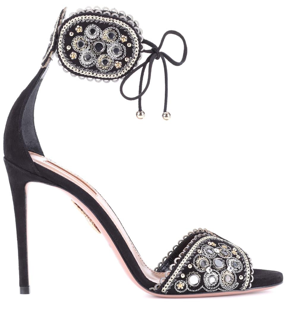 de adornadas sandalias Jaipur negras ante 105 Aquazzura FwRUq