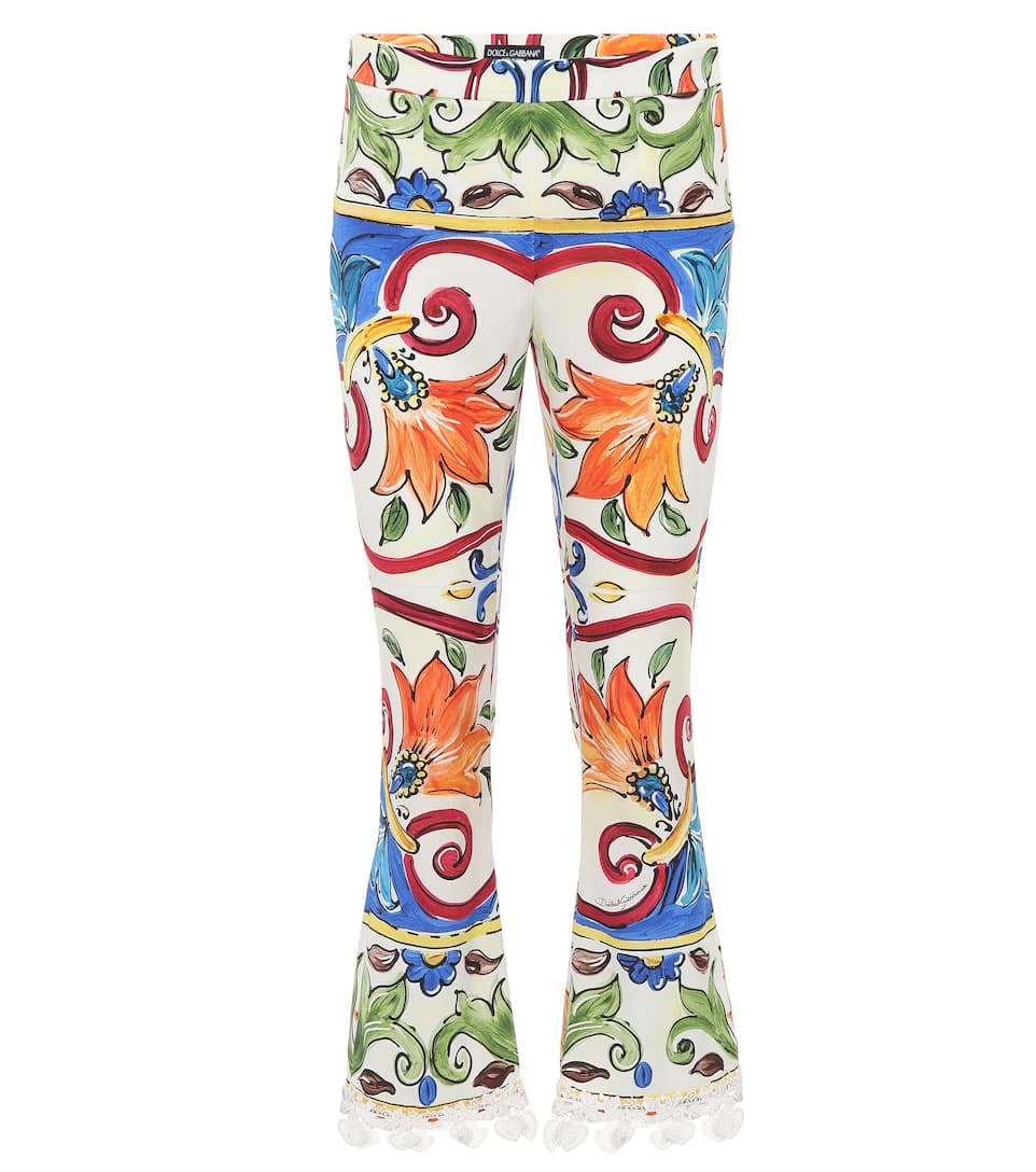 Dolce & Gabbana  PRINTED SILK-BLEND TROUSERS