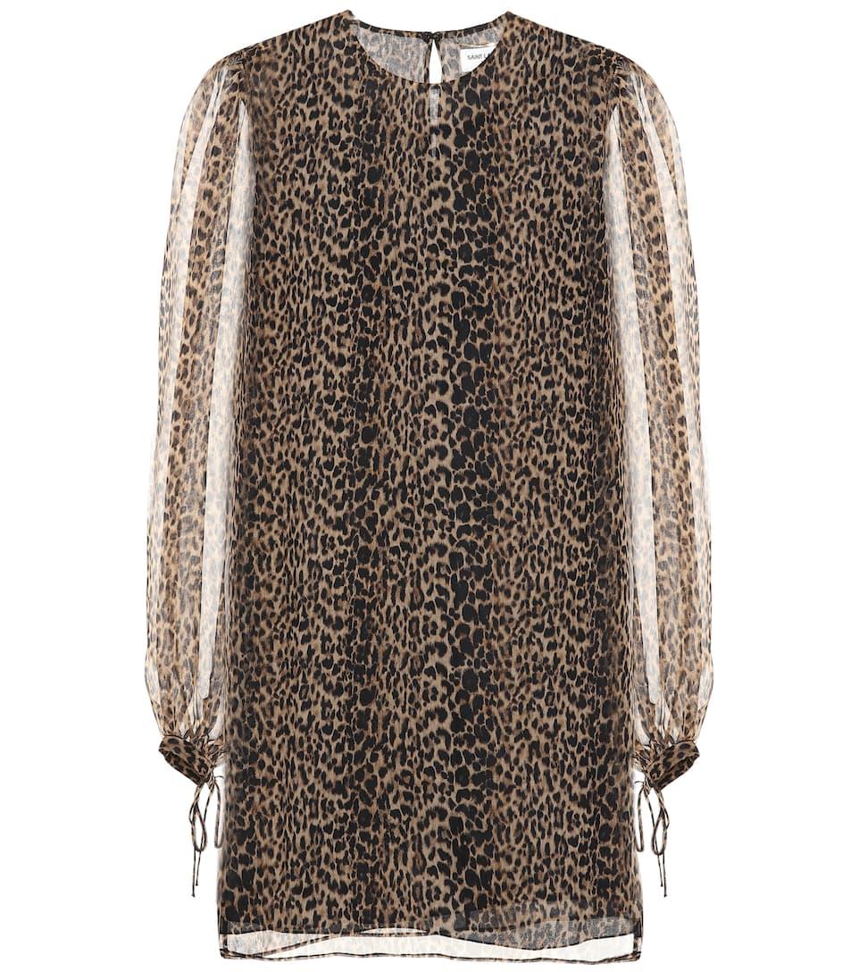 Leopard Printed Silk Dress by Saint Laurent