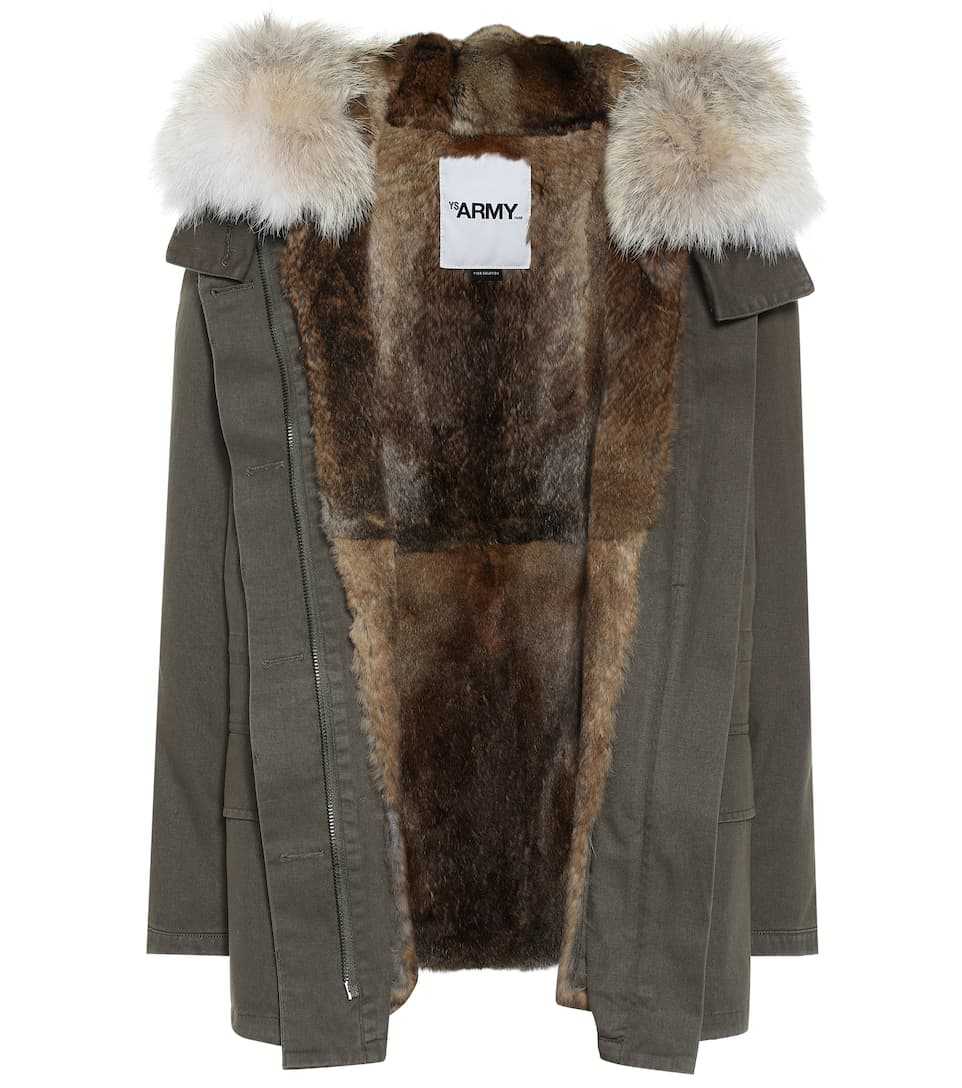 Veste Army à capuche en coton et fourrure