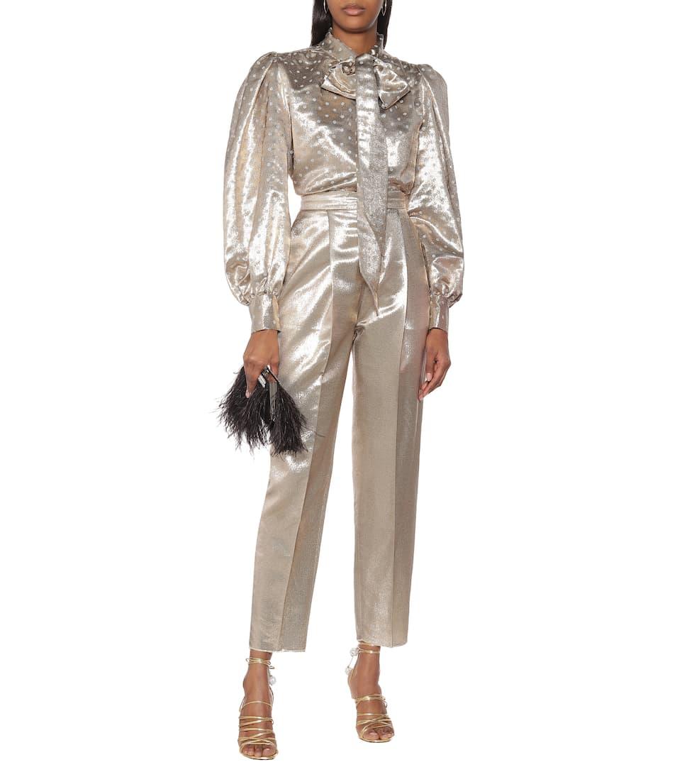 Dundas - High-rise straight silk-blend pants
