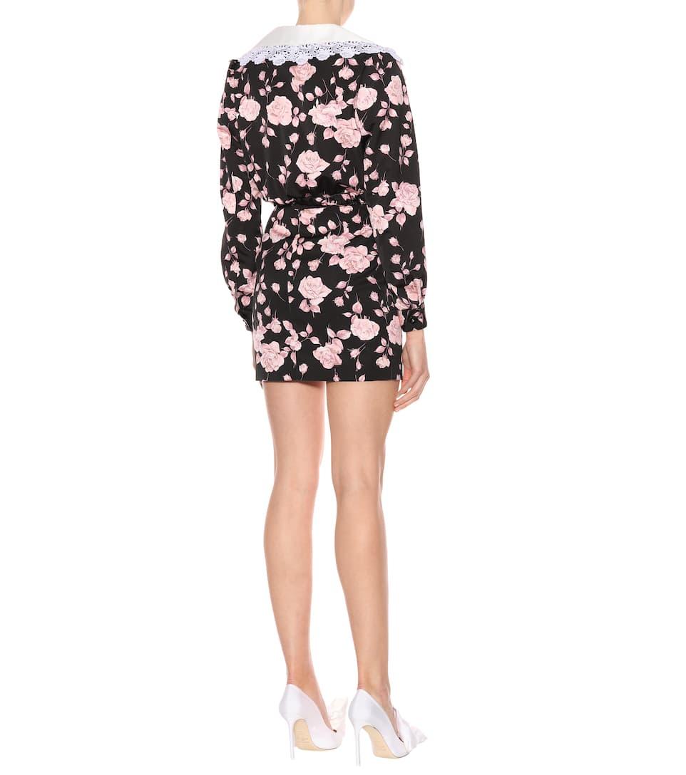 Minifalda Negro Alessandra Rosa floral con faille de Rich estampado BAqwxTC