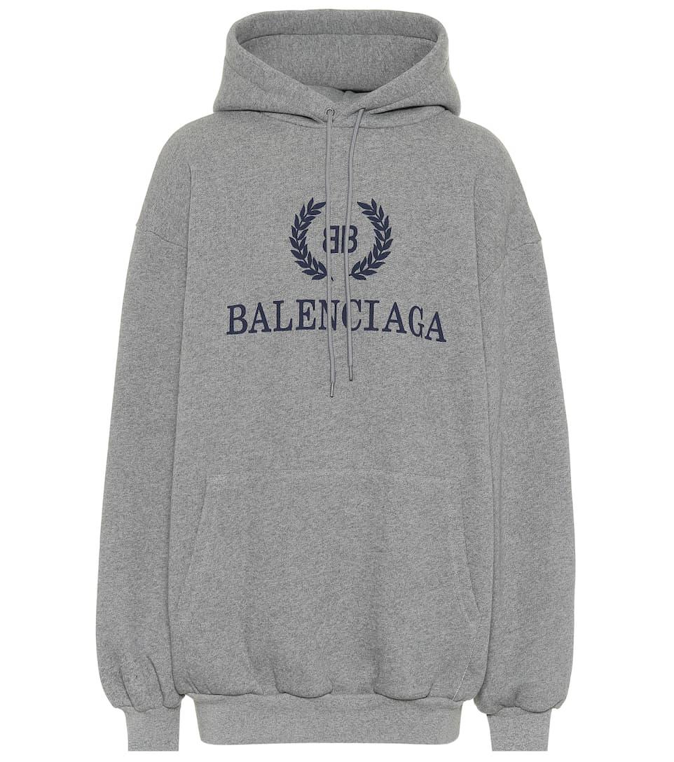 b2d078fb47f Printed Cotton Hoodie - Balenciaga