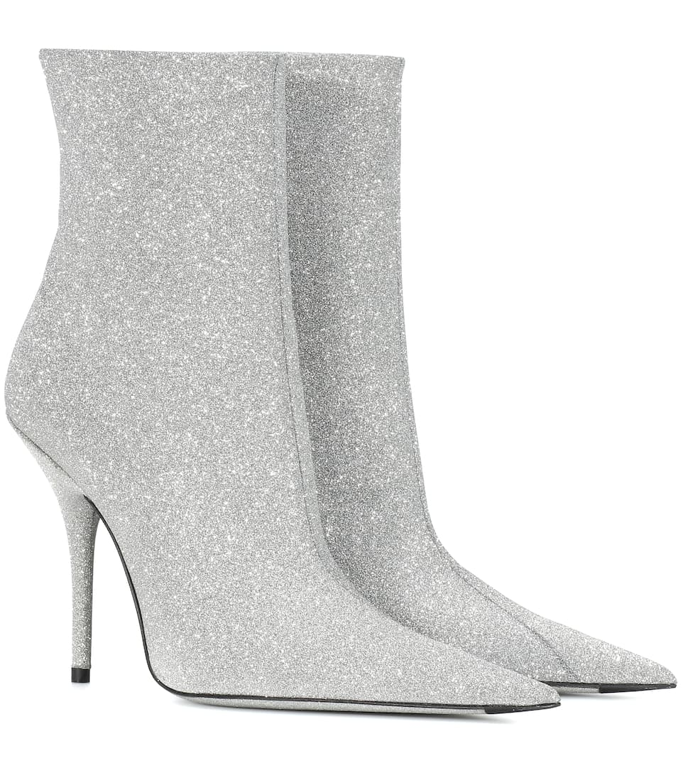 Balenciaga Knife Glittered Leather Ankle Boots In Silver