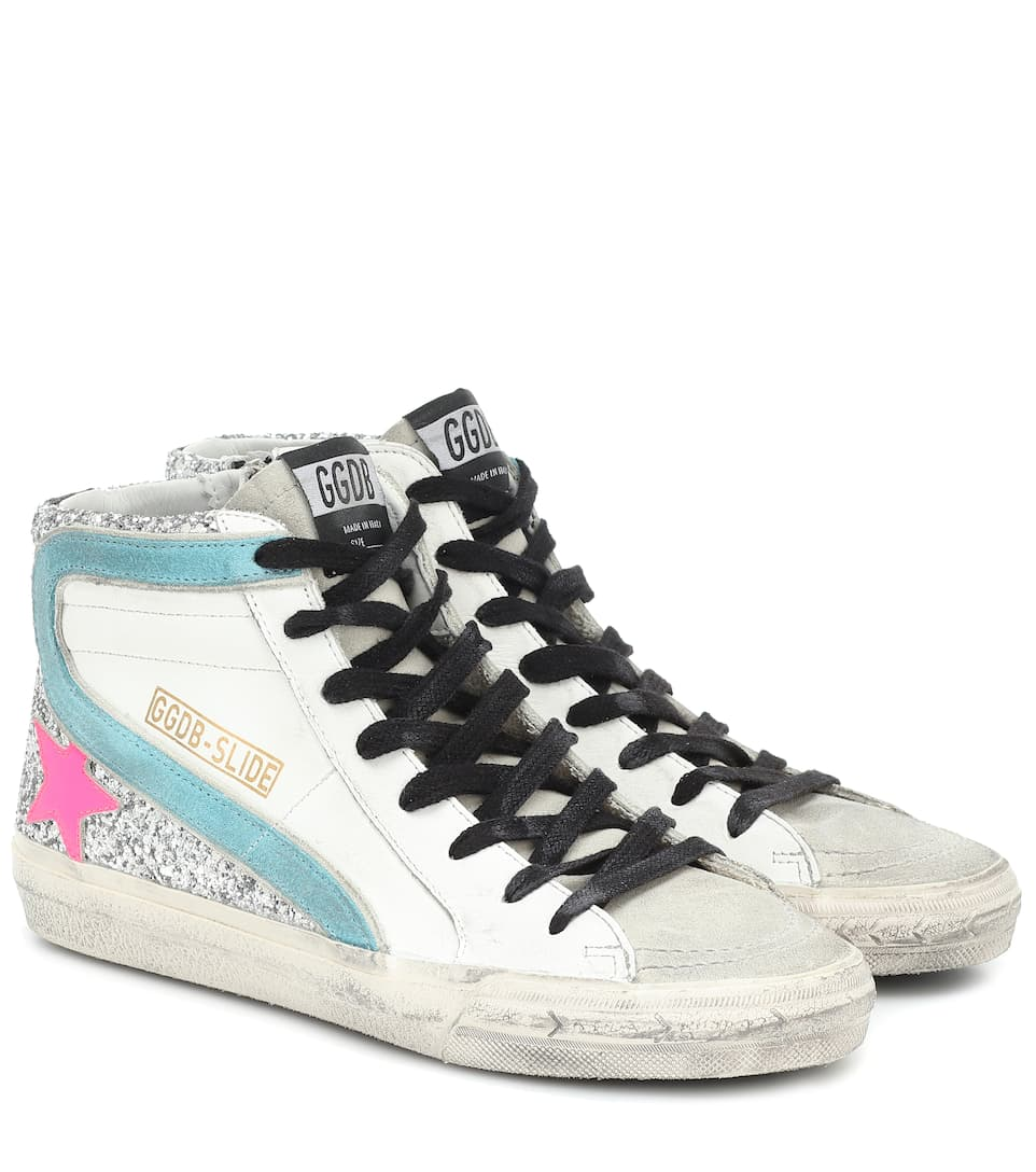 Slide Leather Sneakers | Golden Goose Mytheresa