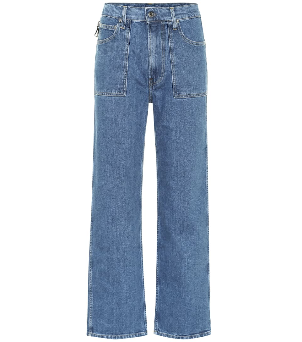 Factory high-rise straight leg jeans by HELMUT LANG, available on mytheresa.com for EUR350 Kourtney Kardashian Pants Exact Product