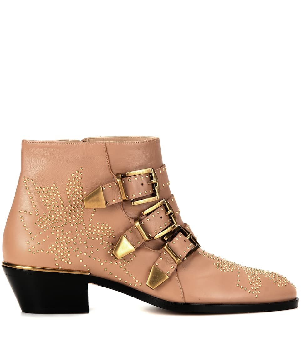 chlo 201 susanna studded leather ankle boots in modesens