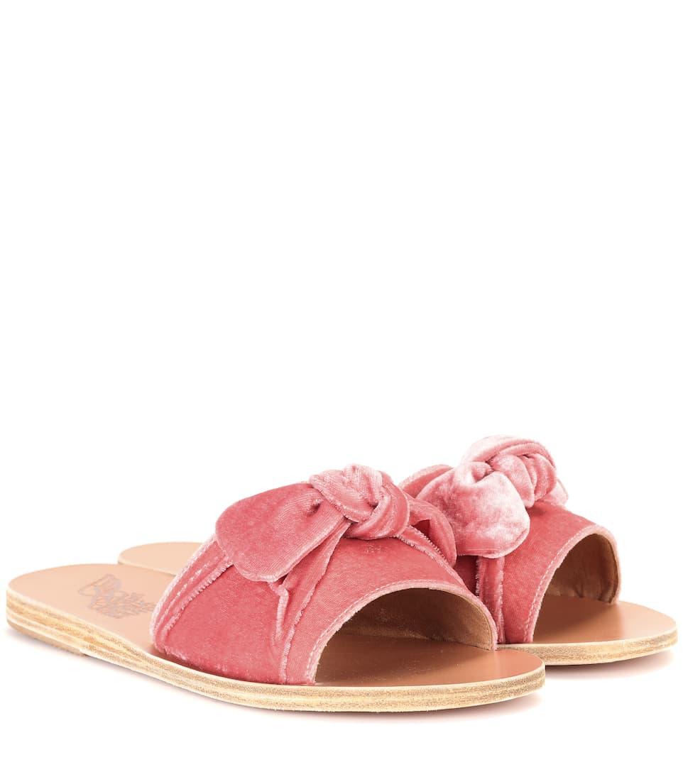 5dd2611126c1 Ancient Greek Sandals - Taygete Bow velvet sandals