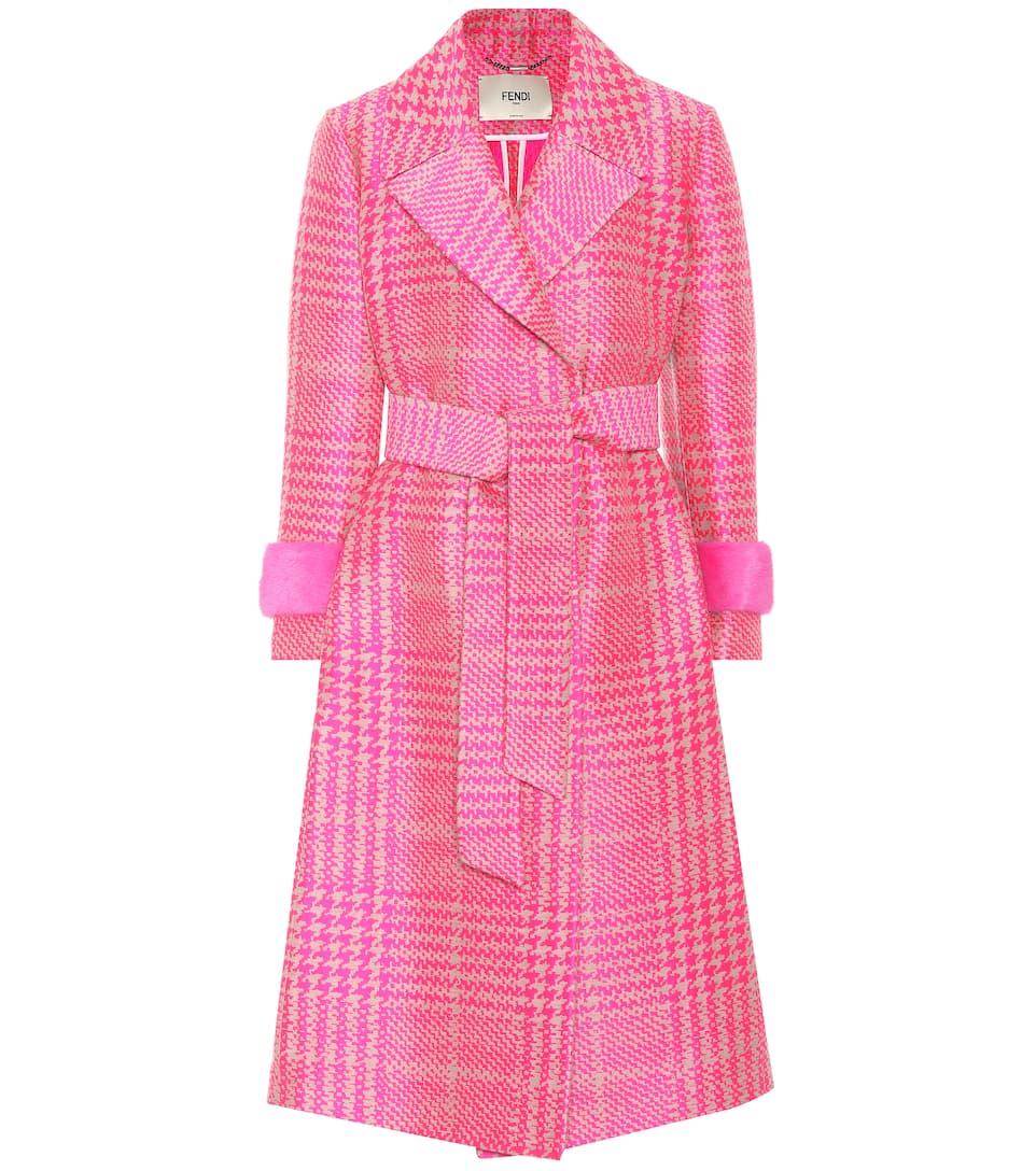 ribete visón lana en con mezcla Glamour Fendi de de Abrigo qf6OFa