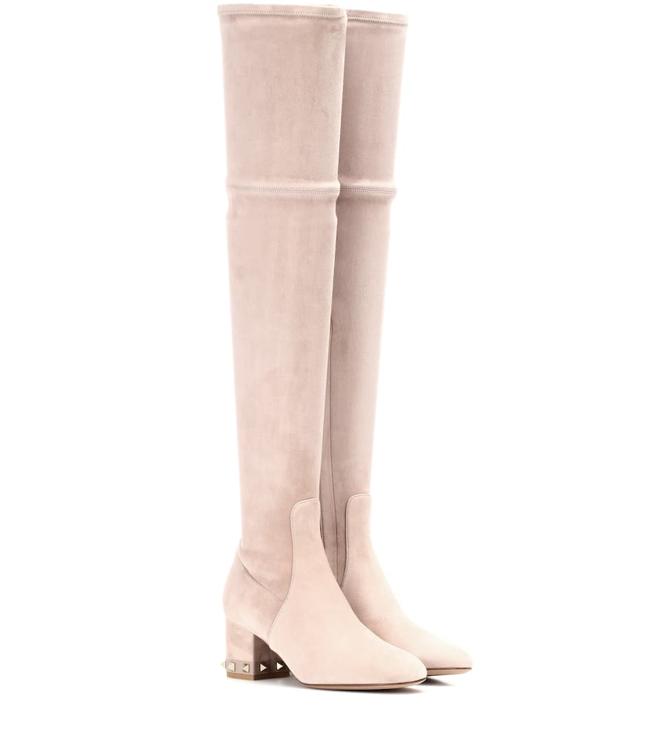 502547af530 VALENTINO Garavani Rockstud Suede Over-The-Knee Boots