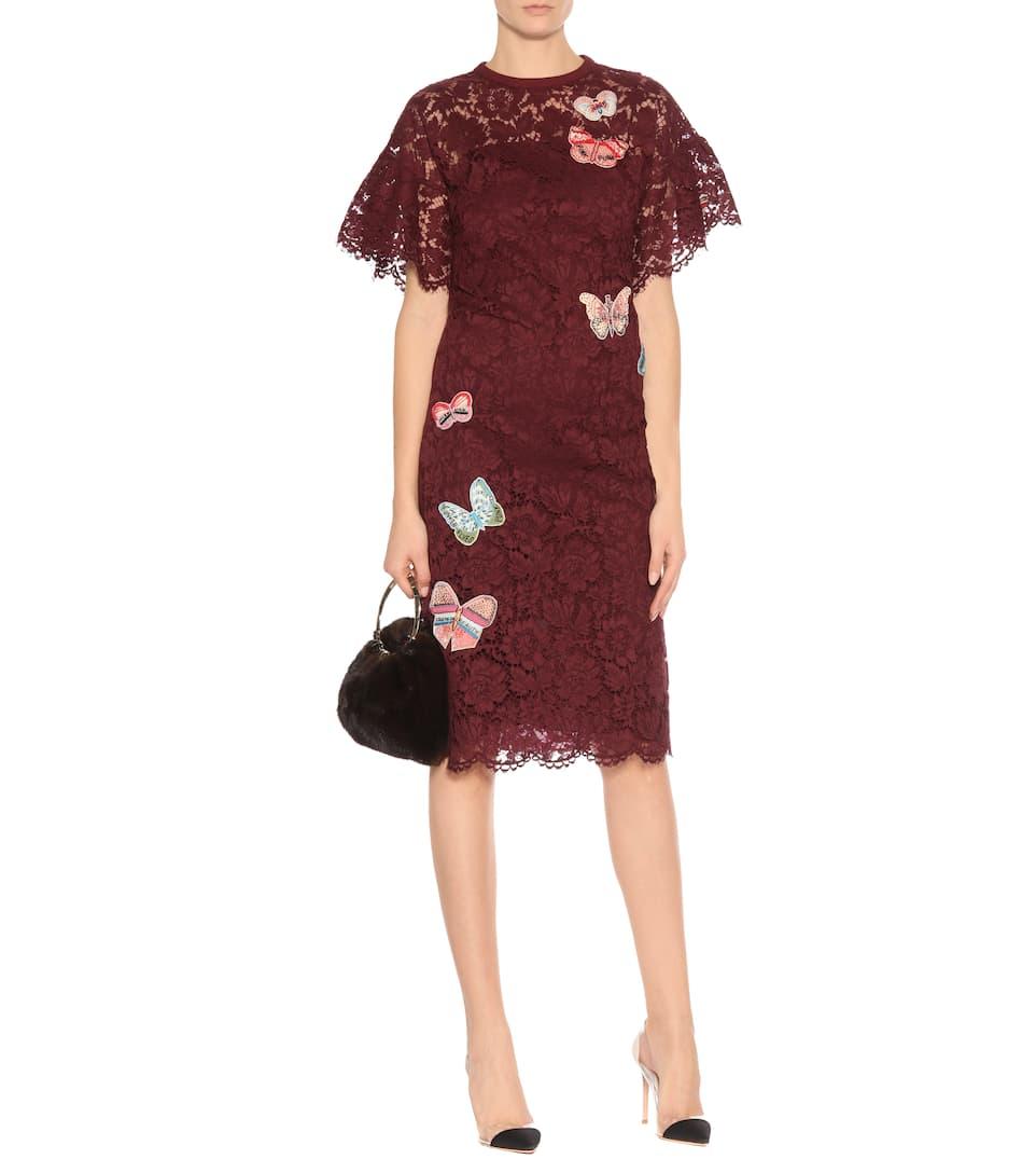 Valentino Kleid aus Baumwollspitze mit Verzierung