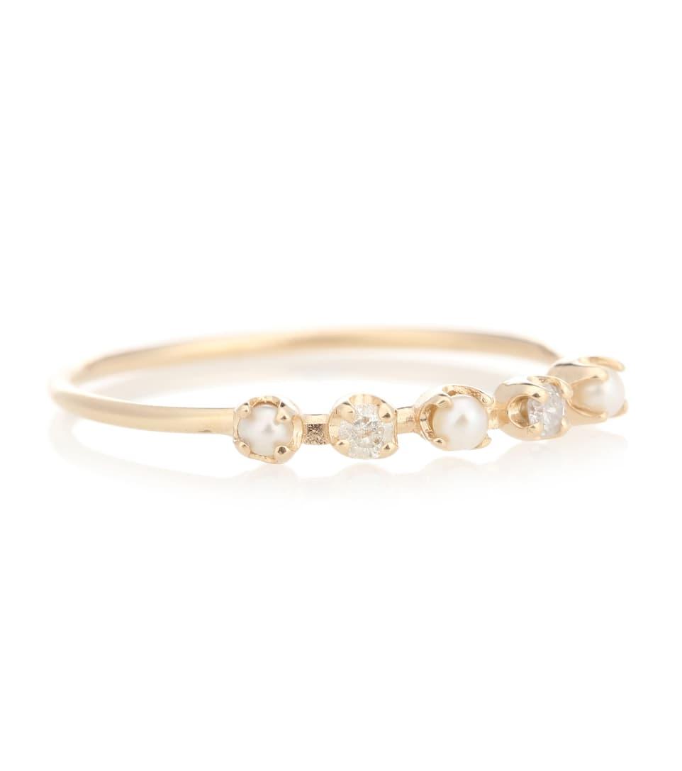Loren Stewart - Bague en or 14ct, perles et diamants Renee