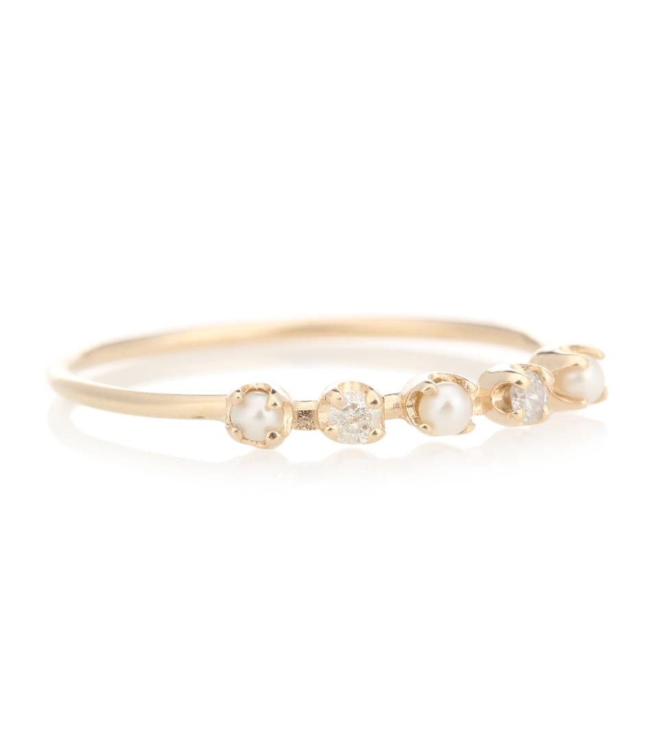 Loren Stewart Renee pearl and diamond 14kt gold ring AvU7r