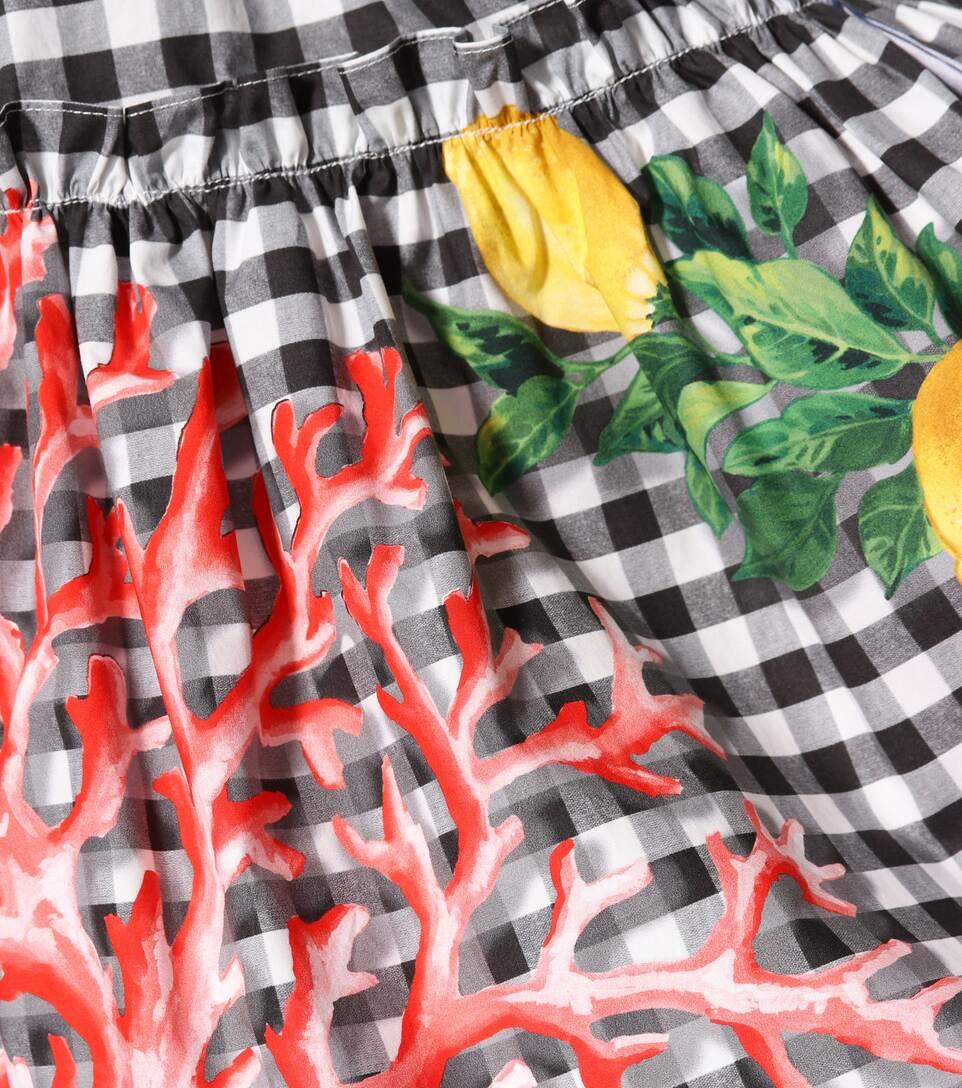 Dolce & Gabbana Bedrucktes Off-Shoulder Minikleid aus Baumwolle