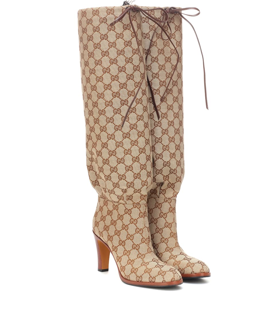 950098727 Gg Canvas Knee-High Boots | Gucci - mytheresa
