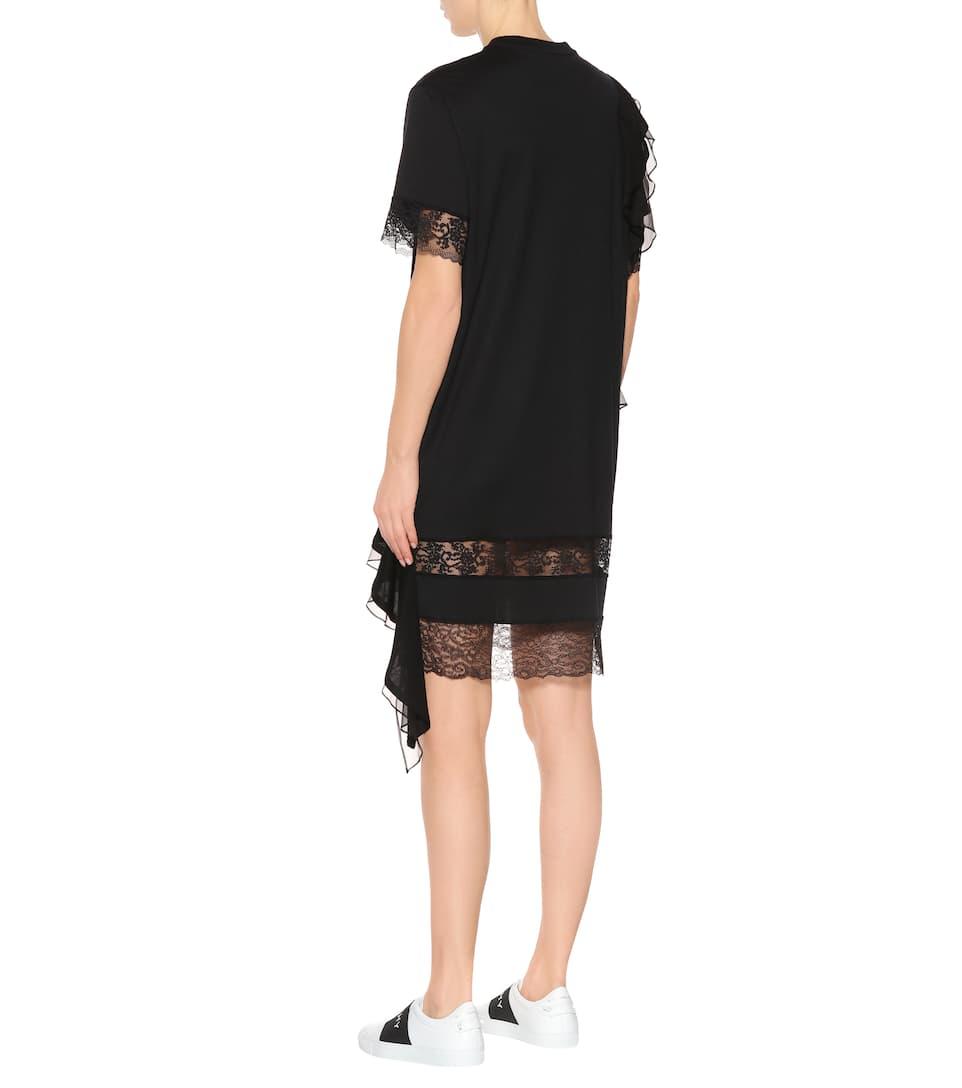 Givenchy Kleid aus Baumwolle mit Volants und Spitze