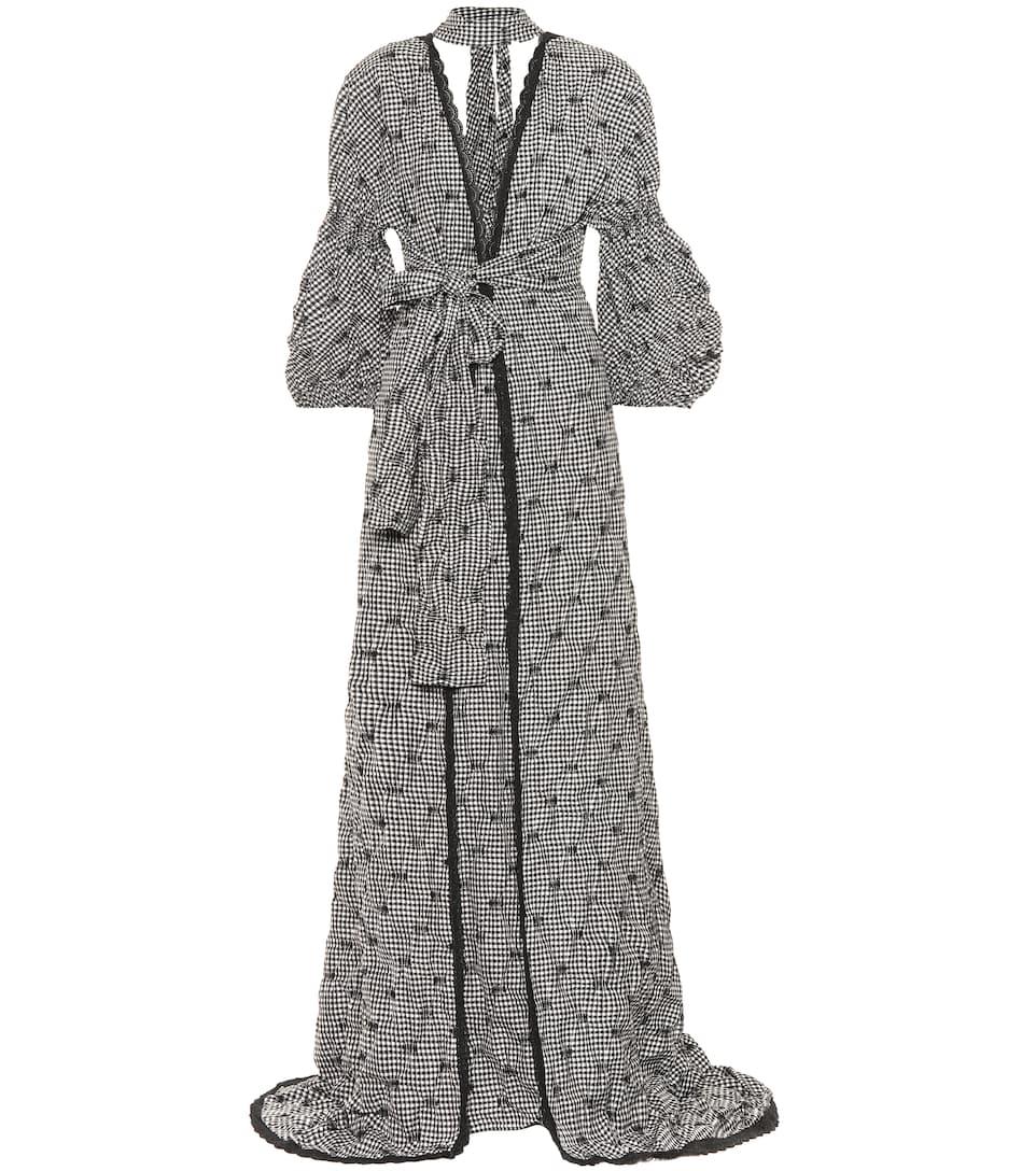 Lieferung Frei Haus Mit Paypal Jonathan Simkhai Karierte Seersucker-Robe mit Schleife Grenze Angebot Billig Erstaunlicher Preis Günstig Online 6EYMg1VF45