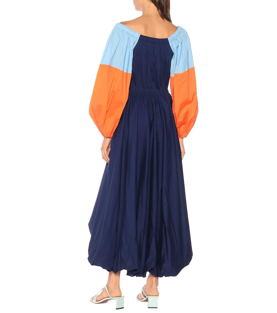Coton Fleur Robe À En Staud Encolure Bardot N80nvmwO