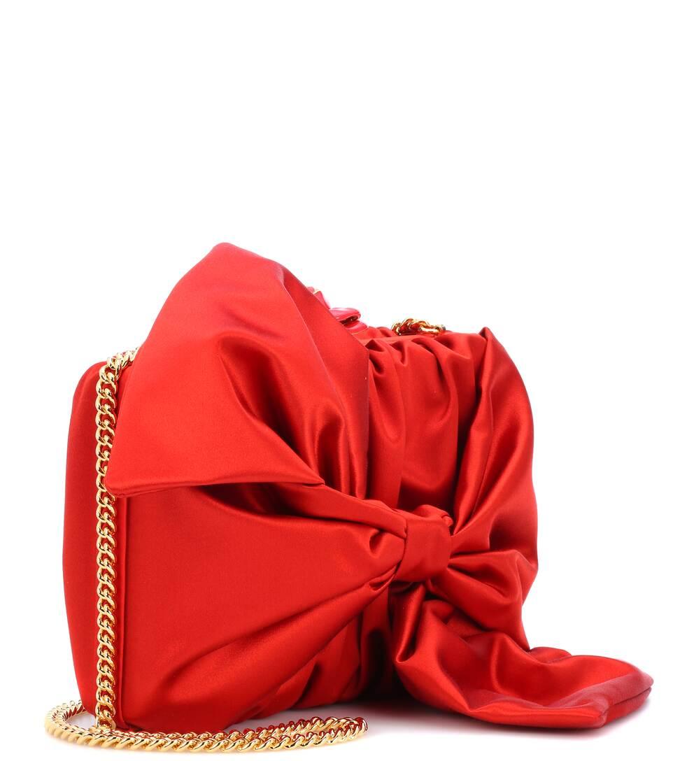 Oscar de la Renta Box Clutch Rogan Bow aus Satin mit Verzierung
