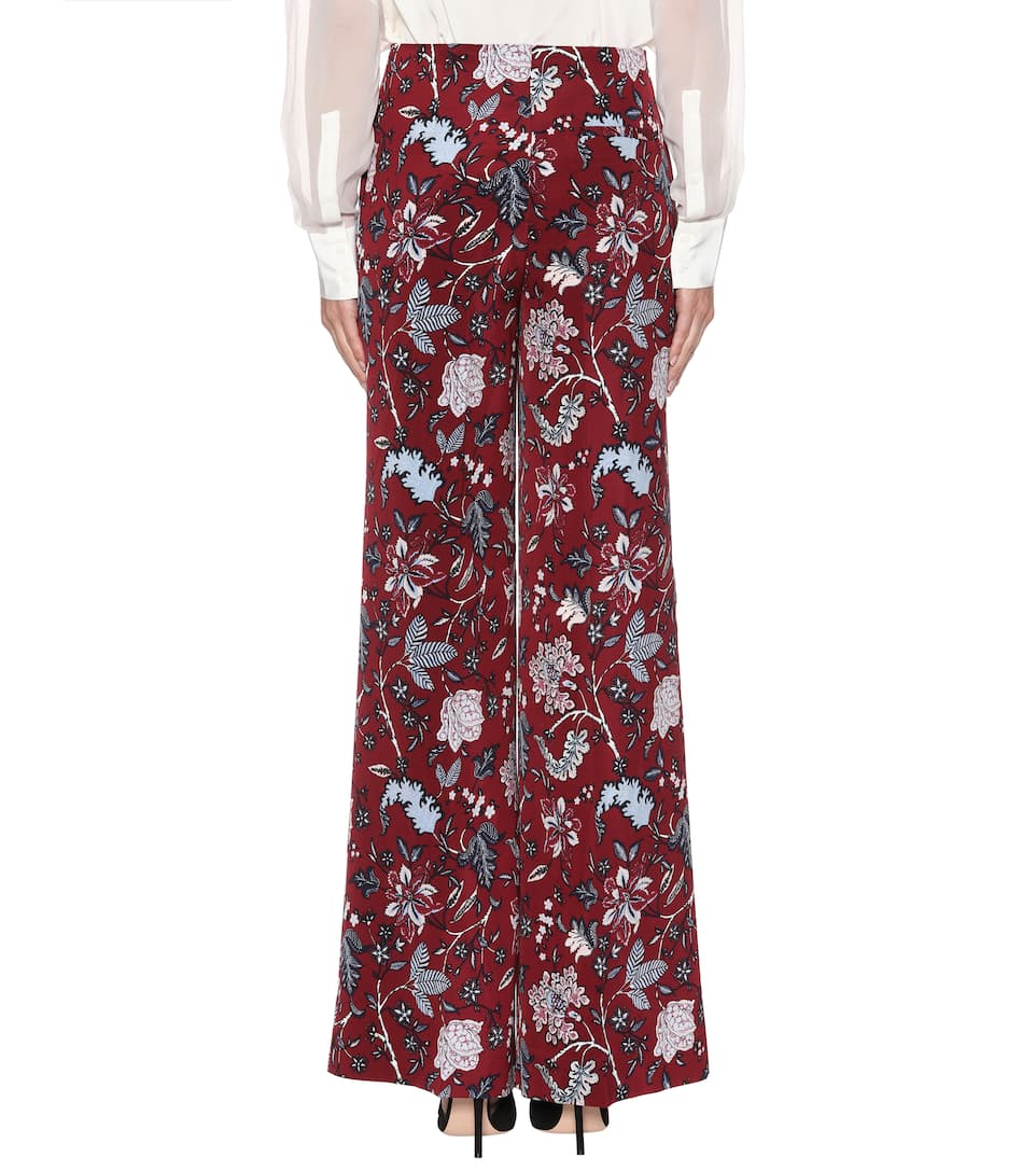 alta Canton Pantalón Furstenberg con seda Bordeaux de Diane cintura mezcla von de wfqSxnXR1