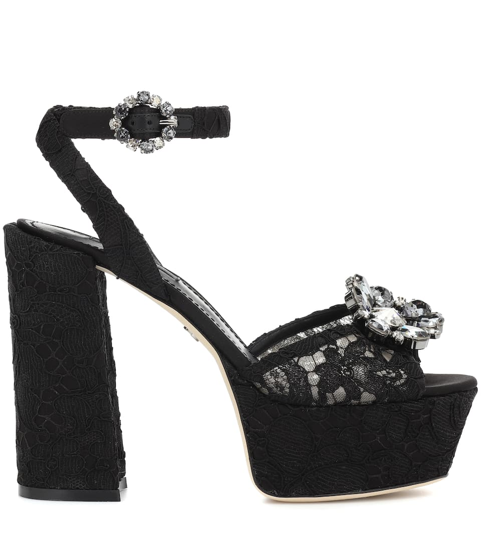 Dolce & Gabbana Keira lace plateau pumps Black 2018 For Sale Clearance Footlocker 6J0It2FU