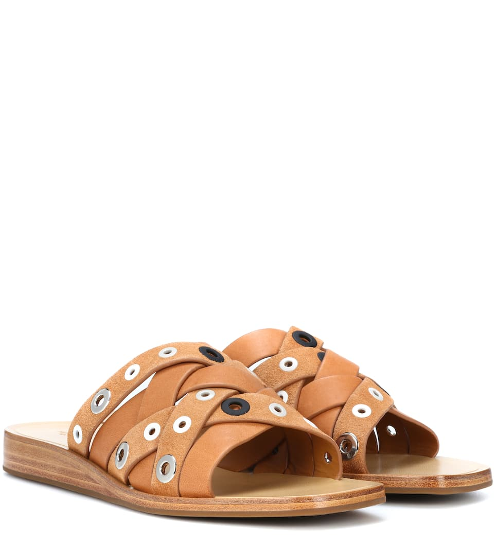Hartley Eyelet-Embellished Leather And Suede Slides in Tan