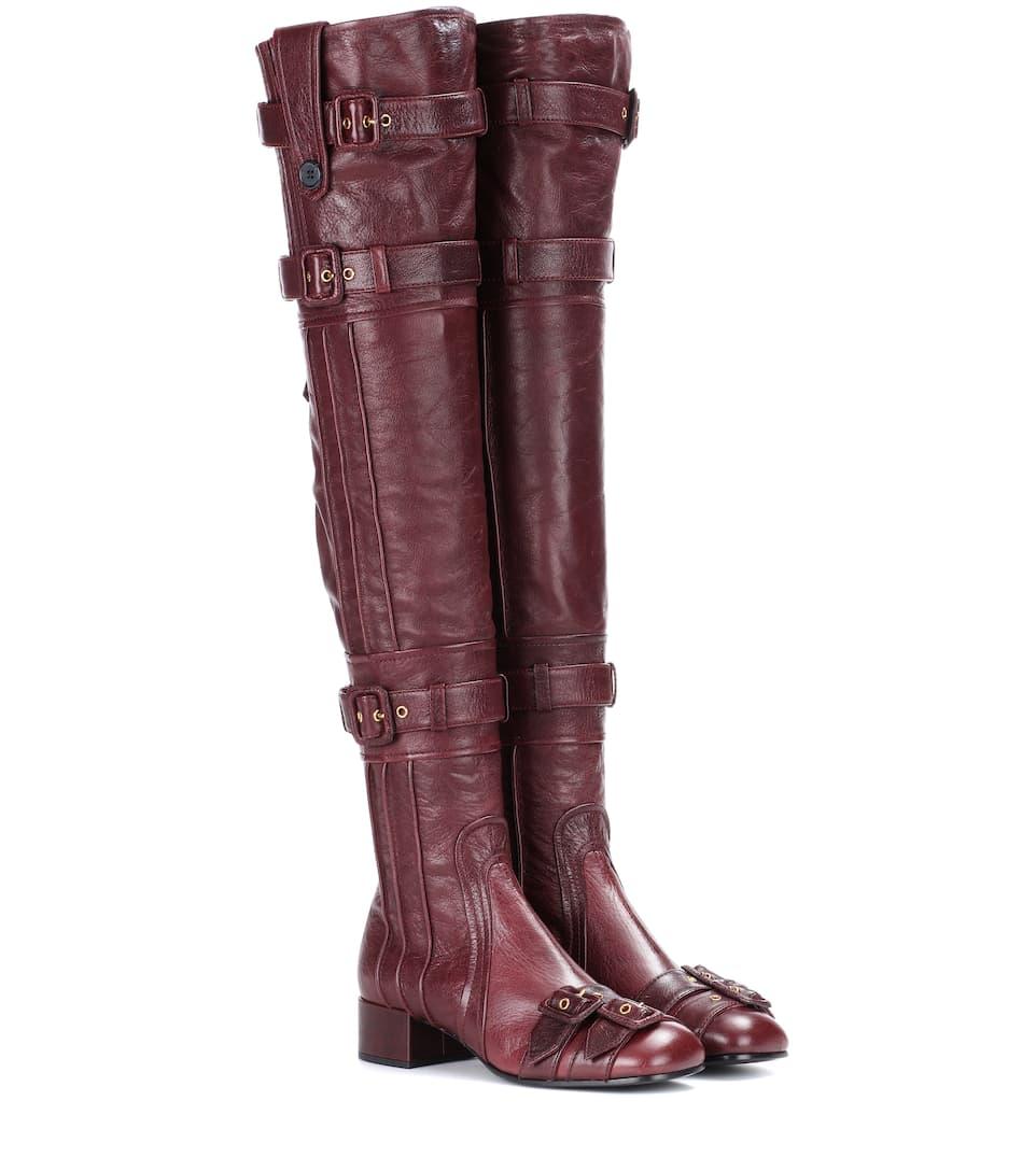 Prada Overknee-Stiefel aus Leder