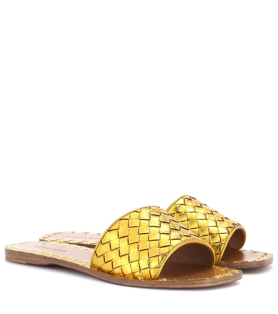 Bottega Veneta Woven-sandalen Aus Leder